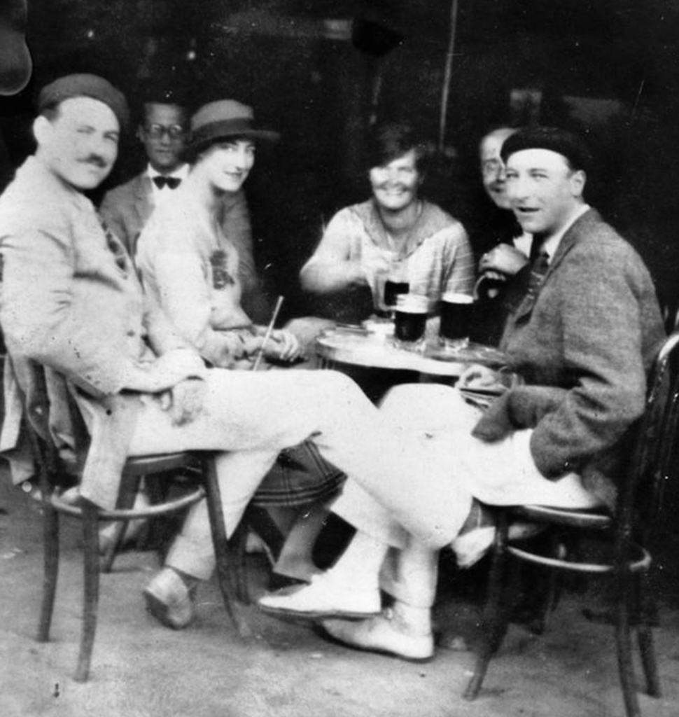 Hemingway with his friends in Paris