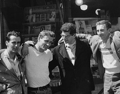 Beat generation writers William Burroughs, Neal Cassady, Allen Ginsberg and Jack Kerouac