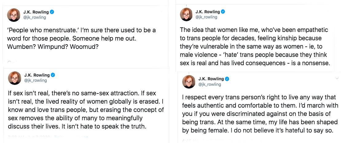 jk rowling transphobia transphobic tweets twitter