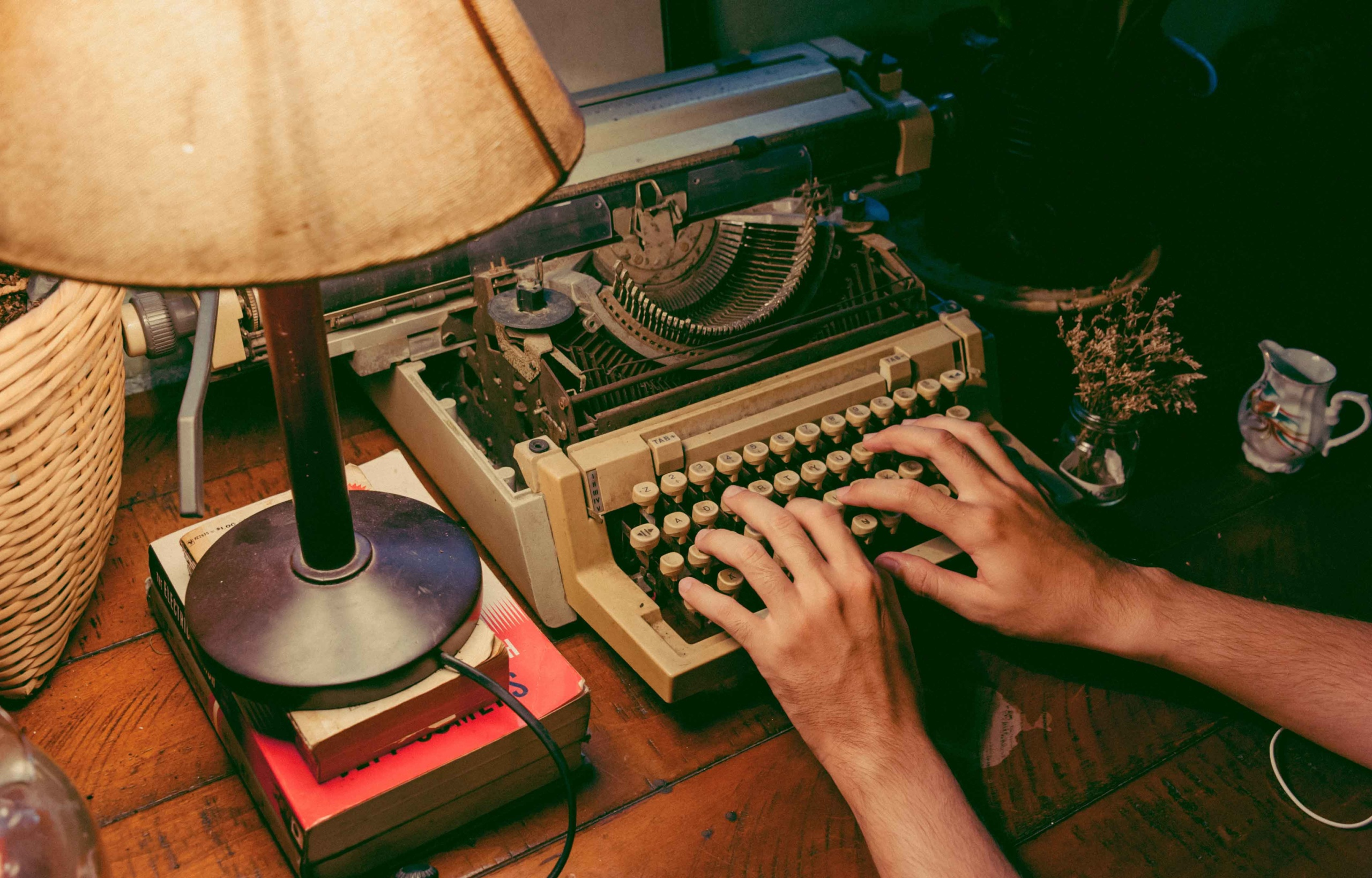 Amish Tripathi typewriter