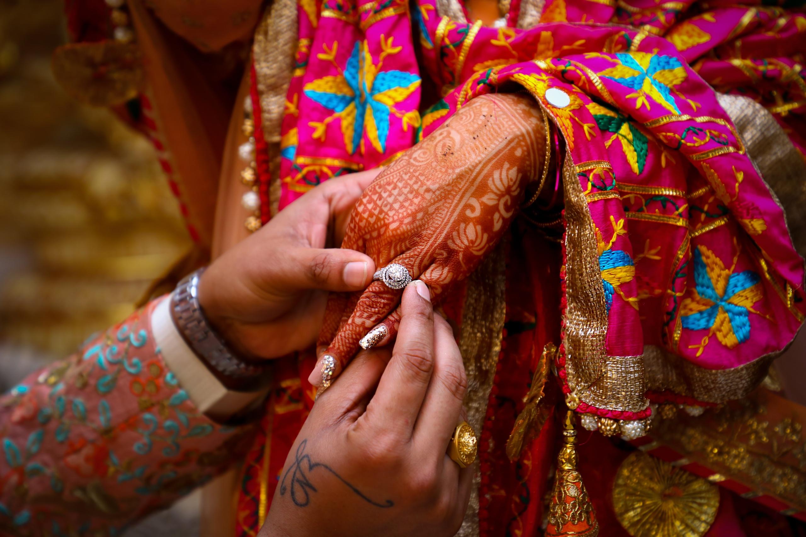 indian wedding night couple