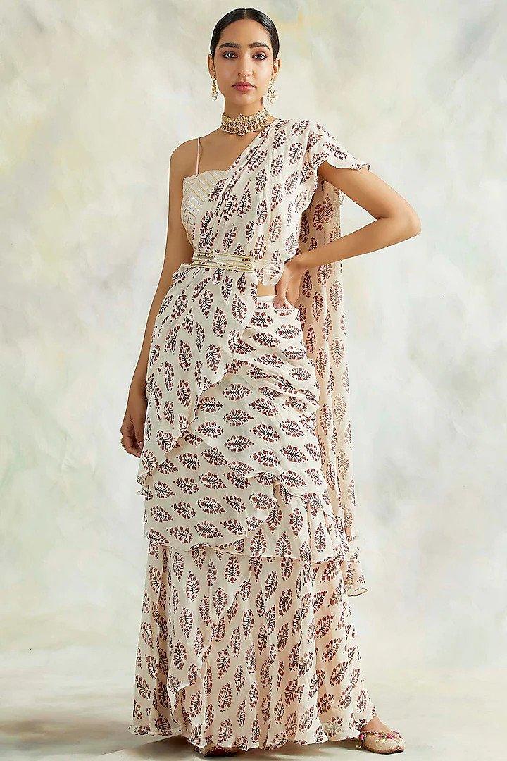 pre-stitched saris chandheri